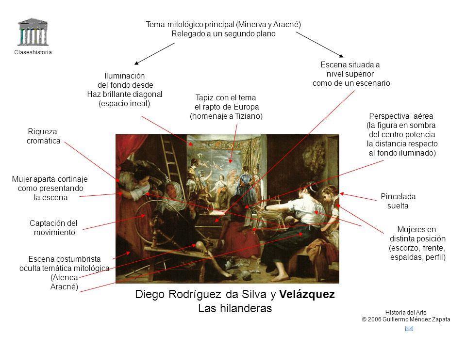 Claseshistoria Historia del Arte © 2006 Guillermo Méndez Zapata Diego Rodríguez da Silva y Velázquez Las hilanderas Tema mitológico principal (Minerva