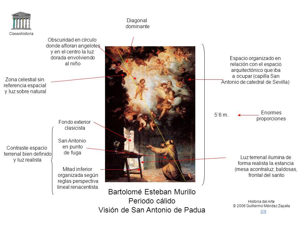 Claseshistoria Historia del Arte © 2006 Guillermo Méndez Zapata Bartolomé Esteban Murillo Periodo cálido Visión de San Antonio de Padua Enormes propor