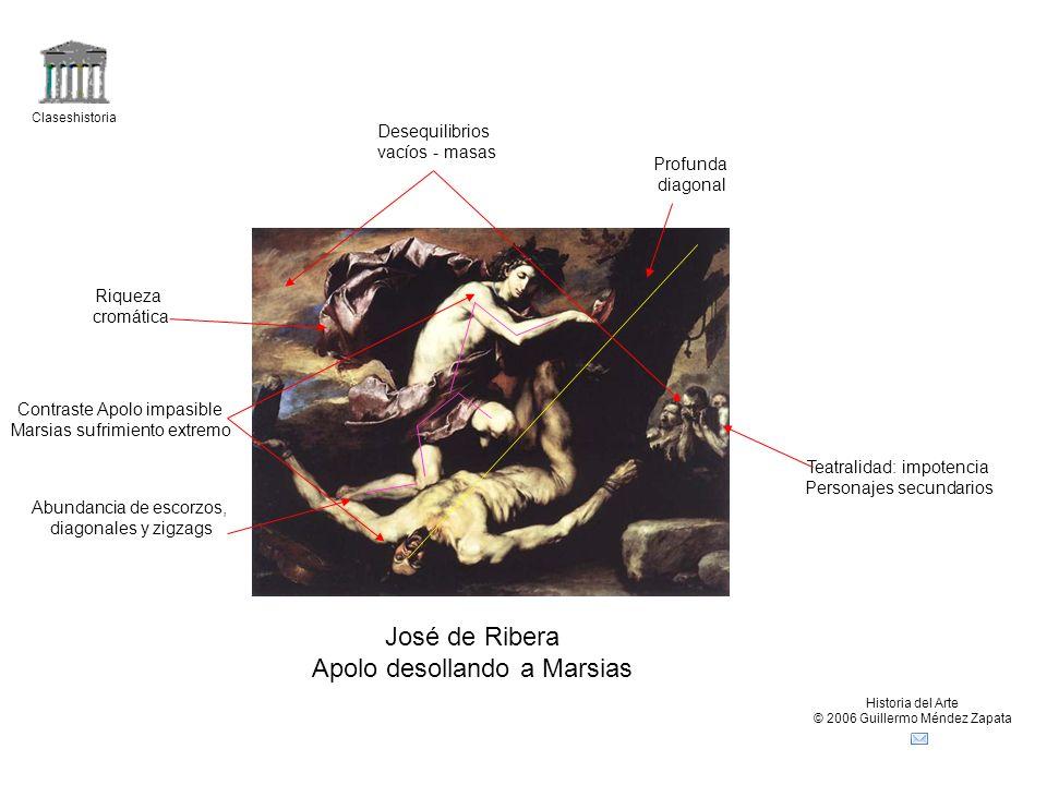 Claseshistoria Historia del Arte © 2006 Guillermo Méndez Zapata José de Ribera Apolo desollando a Marsias Profunda diagonal Contraste Apolo impasible