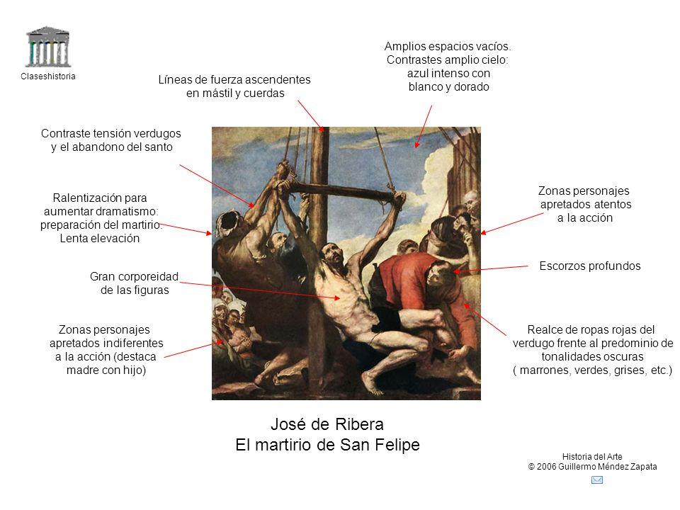 Claseshistoria Historia del Arte © 2006 Guillermo Méndez Zapata José de Ribera El sueño de Jacob Cielo ocupa casi dos tercios de la altura del cuadro Gran intensidad lumínica Ropajes del siglo XVII Predominio de zig-zag Diagonales