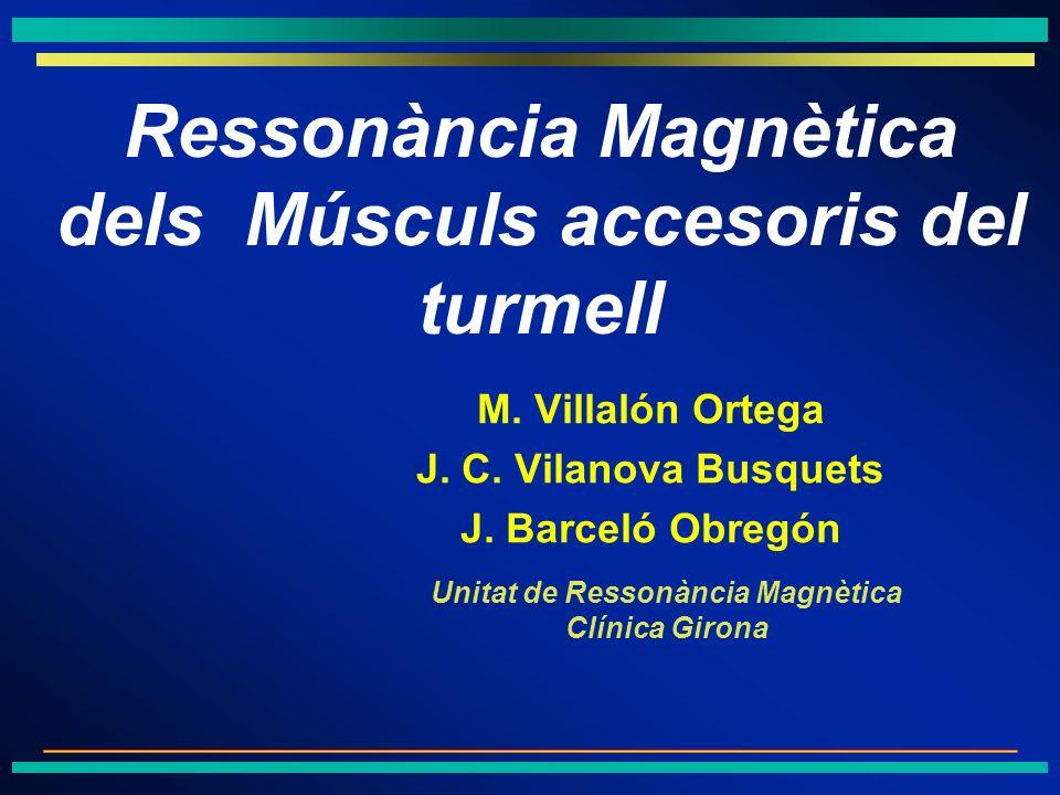 M. Villalón Ortega J. C. Vilanova Busquets J. Barceló Obregón Unitat de Ressonància Magnètica Clínica Girona Ressonància Magnètica dels Músculs acceso