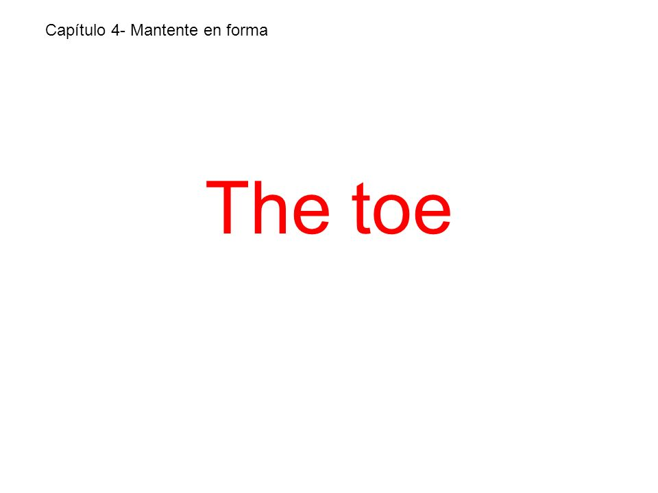 The toe Capítulo 4- Mantente en forma