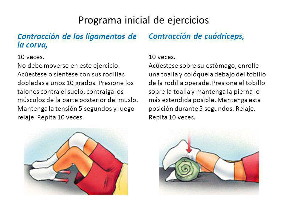 Programa inicial de ejercicios Contracción de los ligamentos de la corva, 10 veces. No debe moverse en este ejercicio. Acúestese o síentese con sus ro