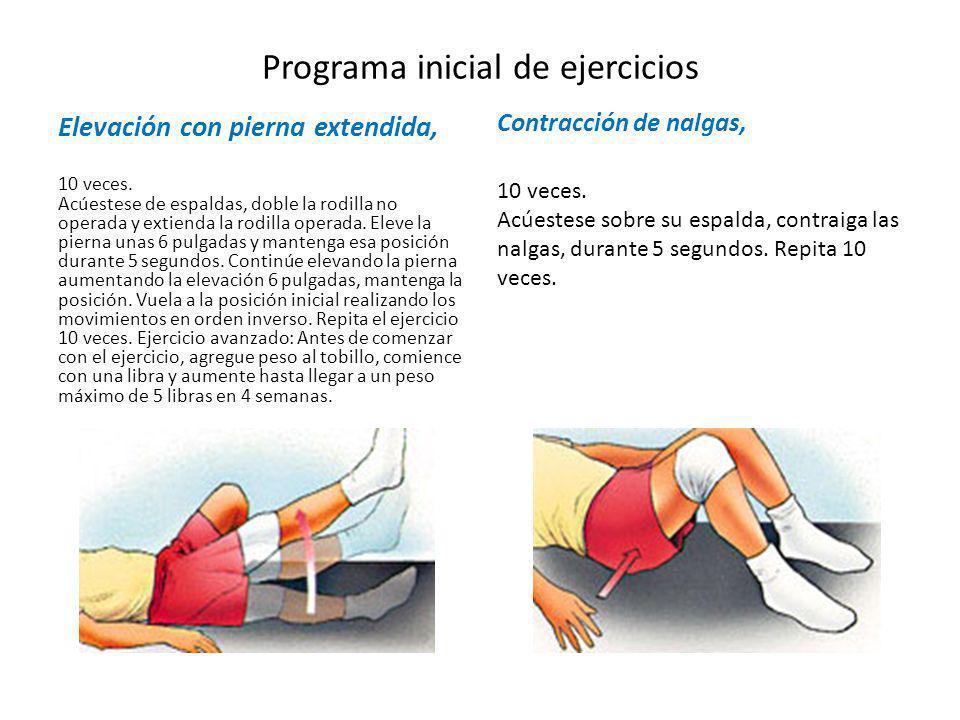 Programa inicial de ejercicios Elevación con pierna extendida, 10 veces. Acúestese de espaldas, doble la rodilla no operada y extienda la rodilla oper