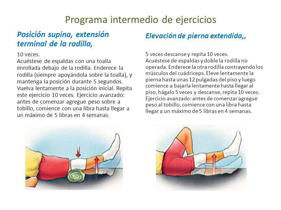 Programa intermedio de ejercicios Posición supina, extensión terminal de la rodilla, 10 veces. Acuéstese de espaldas con una toalla enrollada debajo d