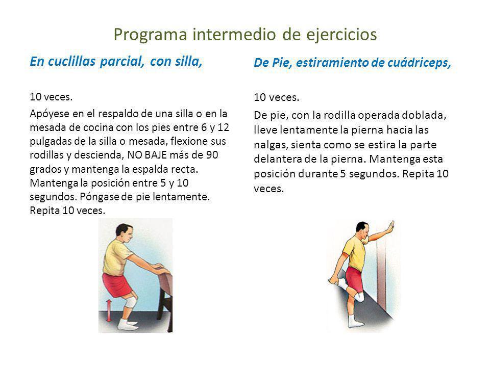 Programa intermedio de ejercicios En cuclillas parcial, con silla, 10 veces. Apóyese en el respaldo de una silla o en la mesada de cocina con los pies