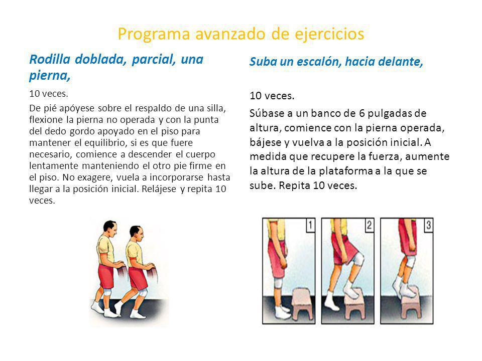 Programa avanzado de ejercicios Rodilla doblada, parcial, una pierna, 10 veces. De pié apóyese sobre el respaldo de una silla, flexione la pierna no o