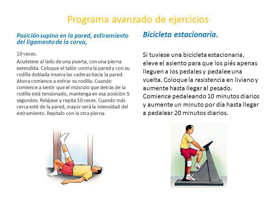 Programa avanzado de ejercicios Posición supina en la pared, estiramiento del ligamento de la corva, 10 veces. Acuéstese al lado de una puerta, con un