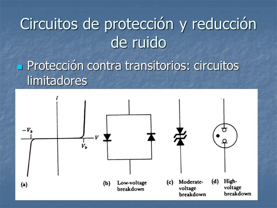 Circuitos de protección y reducción de ruido Protección contra transitorios: circuitos limitadores Protección contra transitorios: circuitos limitadores