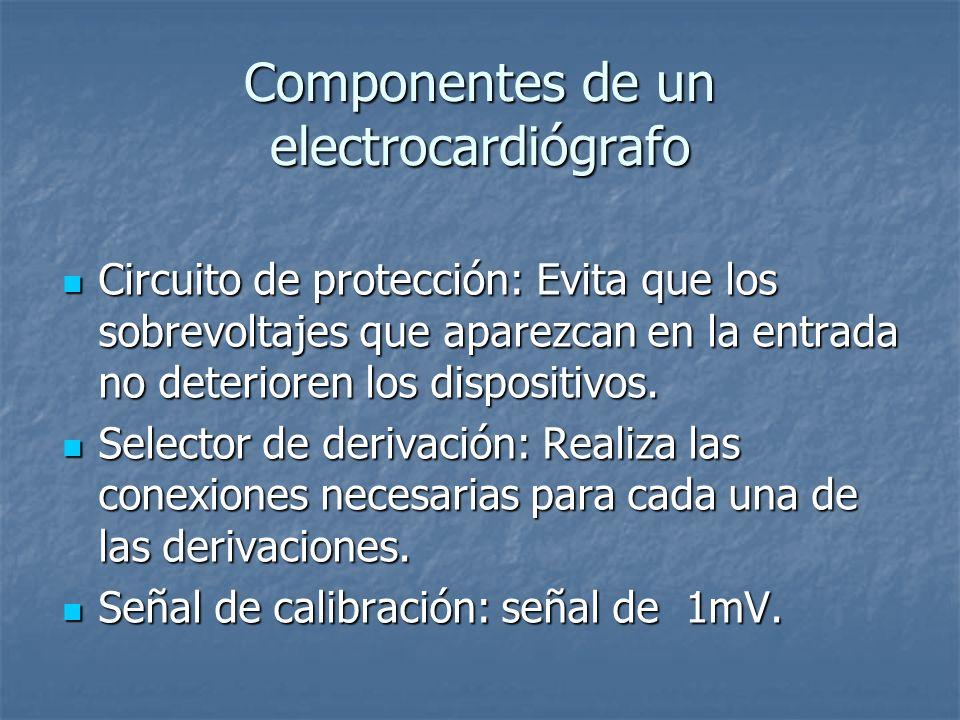 Componentes de un electrocardiógrafo Circuito de protección: Evita que los sobrevoltajes que aparezcan en la entrada no deterioren los dispositivos.