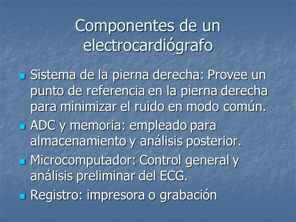 Componentes de un electrocardiógrafo Sistema de la pierna derecha: Provee un punto de referencia en la pierna derecha para minimizar el ruido en modo común.