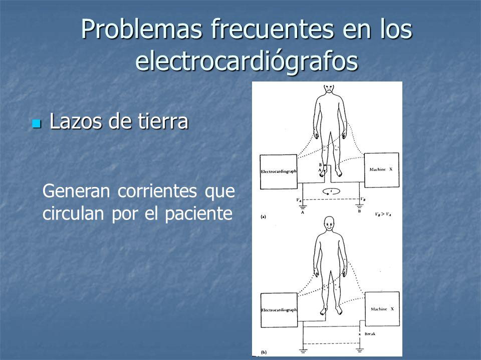 Problemas frecuentes en los electrocardiógrafos Lazos de tierra Lazos de tierra Generan corrientes que circulan por el paciente