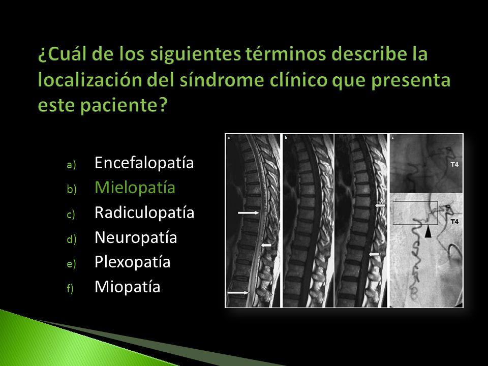 a) Encefalopatía b) Mielopatía c) Radiculopatía d) Neuropatía e) Plexopatía f) Miopatía