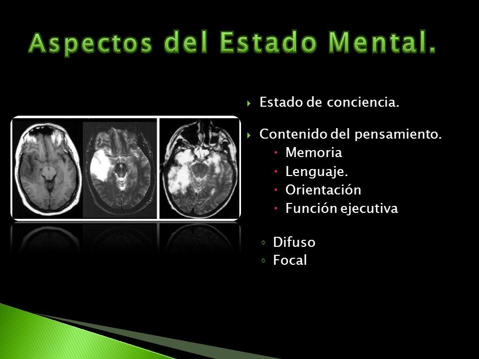 Estado de conciencia. Contenido del pensamiento. Memoria Lenguaje. Orientación Función ejecutiva Difuso Focal