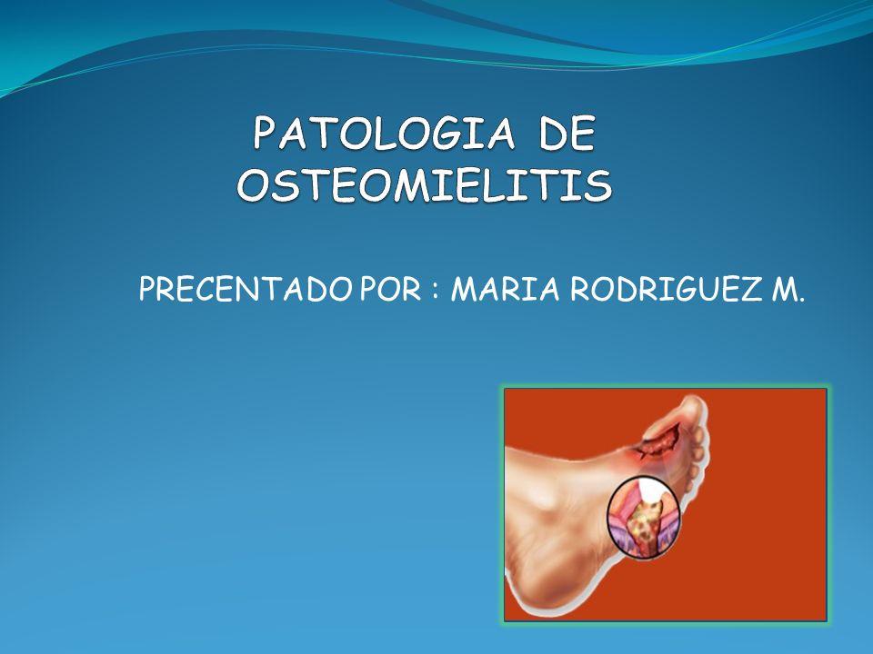La osteomielitis es una infección caracterizada por la destrucción progresiva inflamatoria del hueso, con necrosis y formación de hueso nuevo en oposición e involucra los diferentes componentes óseos: periostio, cavidad medular y hueso cortical.