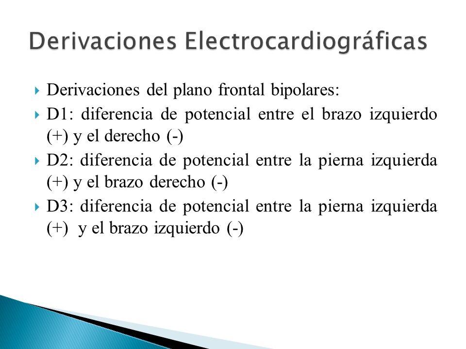 Derivaciones del plano frontal bipolares: D1: diferencia de potencial entre el brazo izquierdo (+) y el derecho (-) D2: diferencia de potencial entre