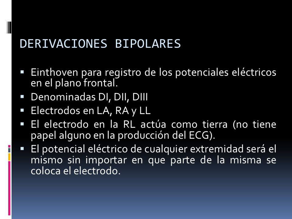 DERIVACIONES BIPOLARES Einthoven para registro de los potenciales eléctricos en el plano frontal. Denominadas DI, DII, DIII Electrodos en LA, RA y LL