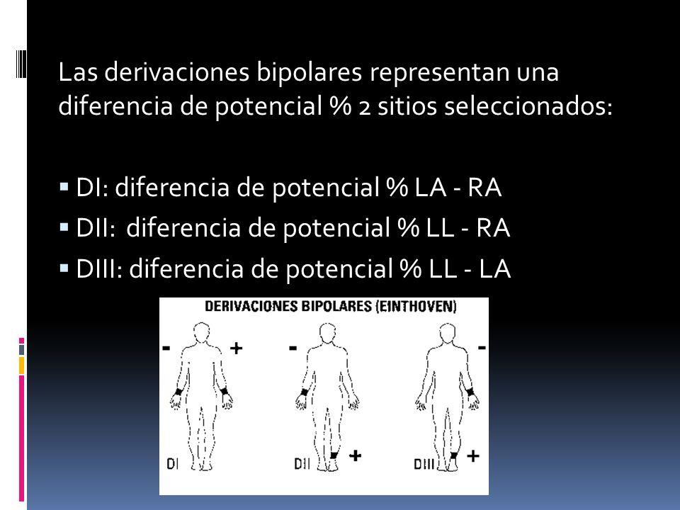 Las derivaciones bipolares representan una diferencia de potencial % 2 sitios seleccionados: DI: diferencia de potencial % LA - RA DII: diferencia de potencial % LL - RA DIII: diferencia de potencial % LL - LA