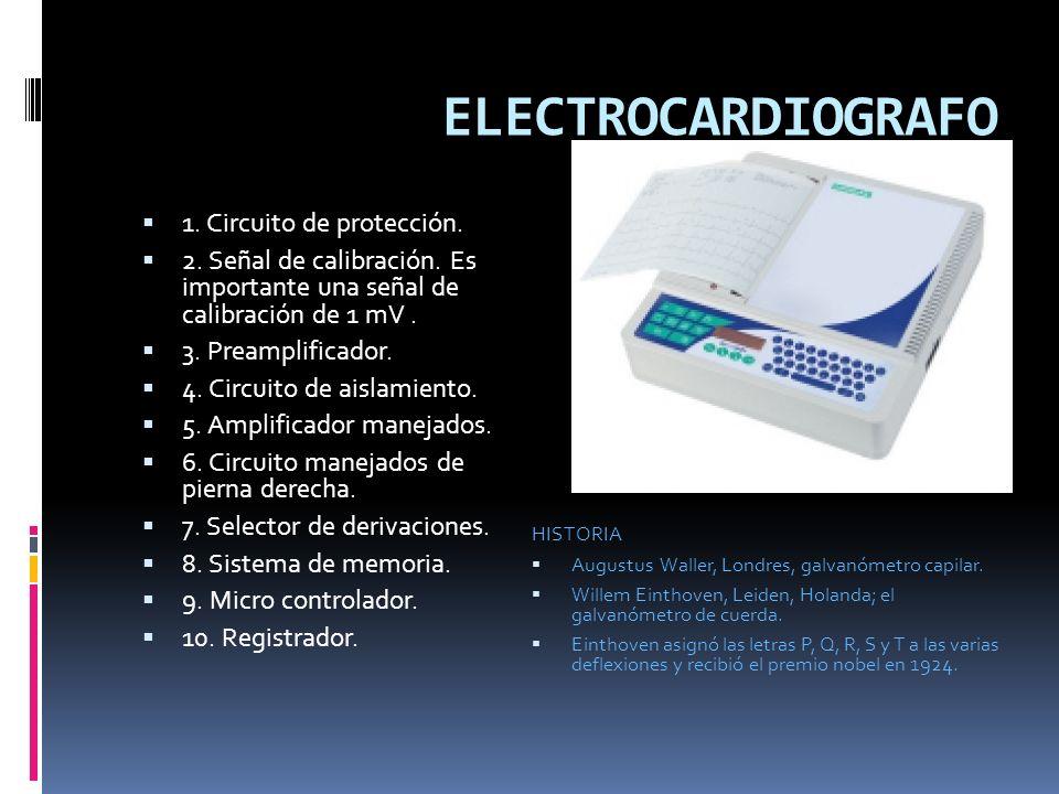 ELECTROCARDIOGRAFO 1.Circuito de protección. 2. Señal de calibración.
