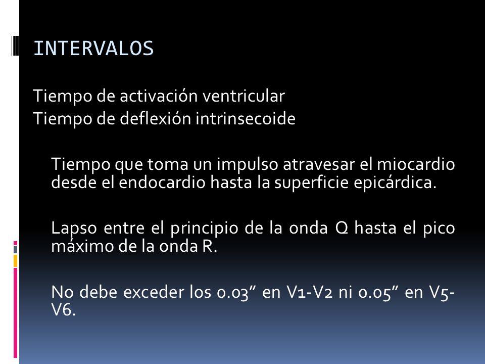 INTERVALOS Tiempo de activación ventricular Tiempo de deflexión intrinsecoide Tiempo que toma un impulso atravesar el miocardio desde el endocardio hasta la superficie epicárdica.