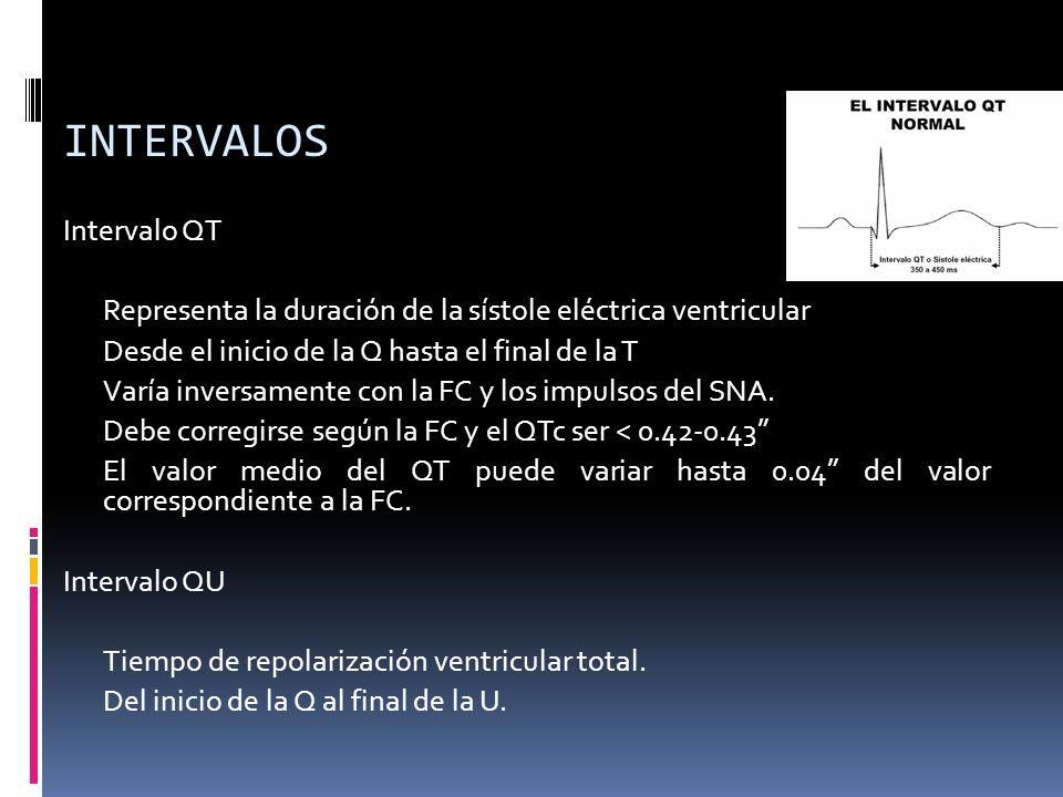 INTERVALOS Intervalo QT Representa la duración de la sístole eléctrica ventricular Desde el inicio de la Q hasta el final de la T Varía inversamente con la FC y los impulsos del SNA.