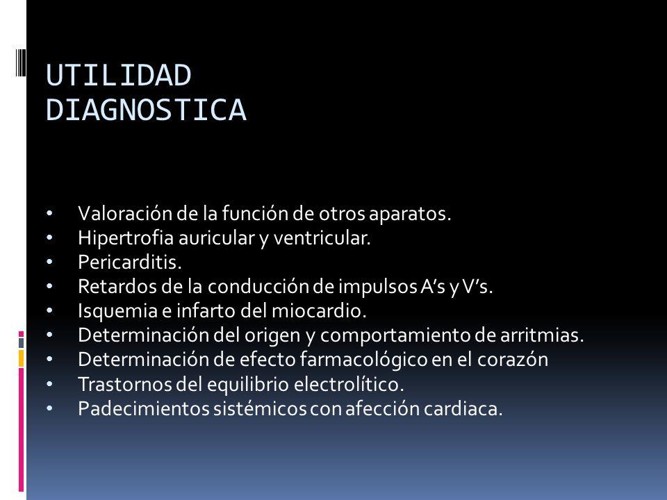 UTILIDAD DIAGNOSTICA Valoración de la función de otros aparatos. Hipertrofia auricular y ventricular. Pericarditis. Retardos de la conducción de impul