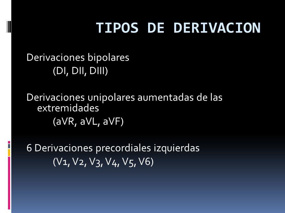 TIPOS DE DERIVACION Derivaciones bipolares (DI, DII, DIII) Derivaciones unipolares aumentadas de las extremidades (aVR, aVL, aVF) 6 Derivaciones precordiales izquierdas (V1, V2, V3, V4, V5, V6)