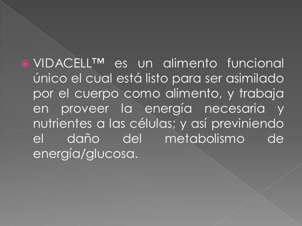 VIDACELL es un alimento funcional único el cual está listo para ser asimilado por el cuerpo como alimento, y trabaja en proveer la energía necesaria y