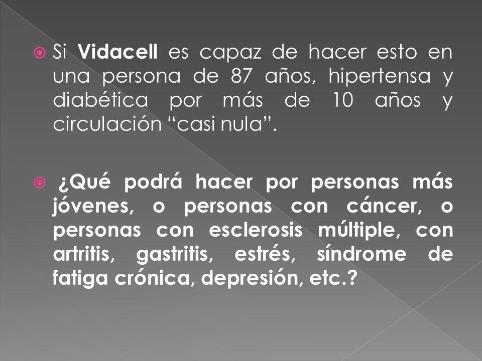 Si Vidacell es capaz de hacer esto en una persona de 87 años, hipertensa y diabética por más de 10 años y circulación casi nula. ¿Qué podrá hacer por