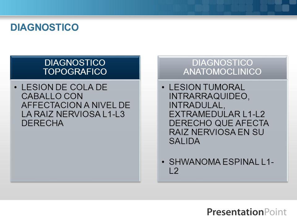 DIAGNOSTICO DIAGNOSTICO TOPOGRAFICO LESION DE COLA DE CABALLO CON AFFECTACION A NIVEL DE LA RAIZ NERVIOSA L1-L3 DERECHA DIAGNOSTICO ANATOMOCLINICO LES