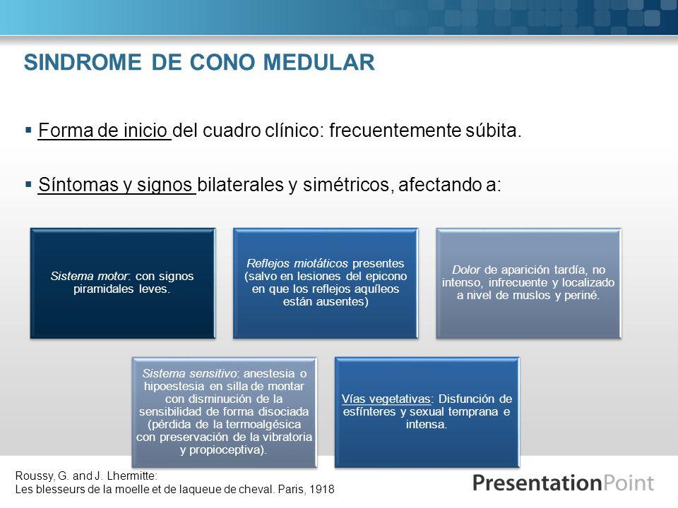 SINDROME DE CONO MEDULAR Forma de inicio del cuadro clínico: frecuentemente súbita. Síntomas y signos bilaterales y simétricos, afectando a: Sistema m