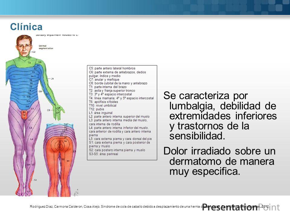 Clínica Se caracteriza por lumbalgia, debilidad de extremidades inferiores y trastornos de la sensibilidad. Dolor irradiado sobre un dermatomo de mane