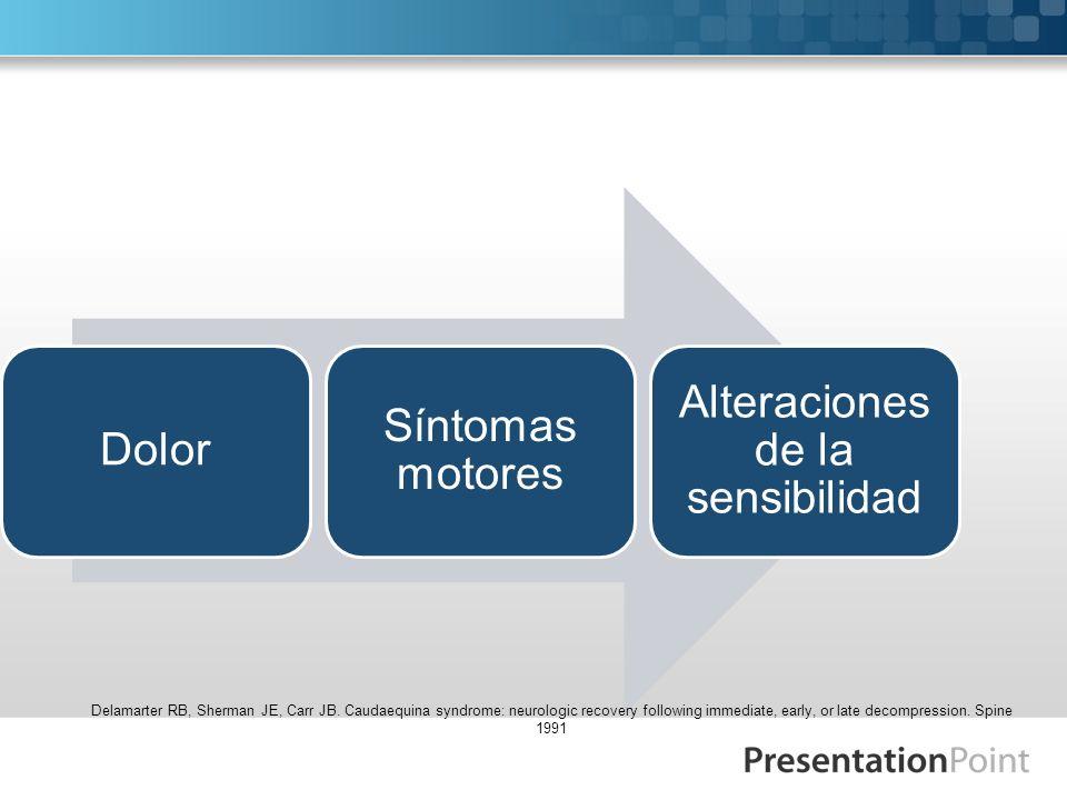 CLÍNICA Dolor Síntomas motores Alteraciones de la sensibilidad Delamarter RB, Sherman JE, Carr JB. Caudaequina syndrome: neurologic recovery following