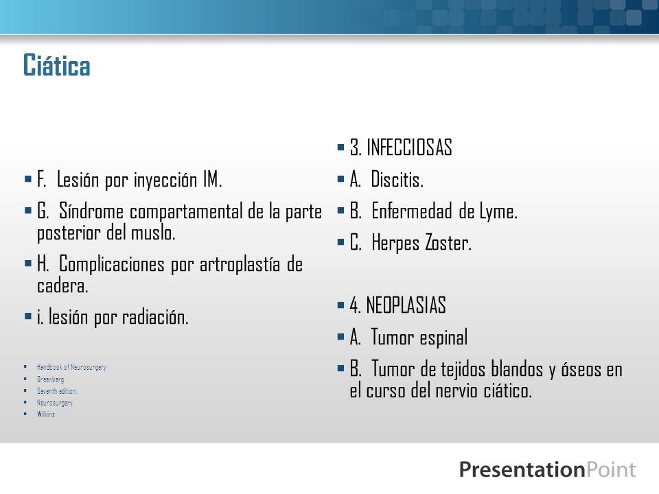 Ciática F. Lesión por inyección IM. G. Síndrome compartamental de la parte posterior del muslo. H. Complicaciones por artroplastía de cadera. i. lesió
