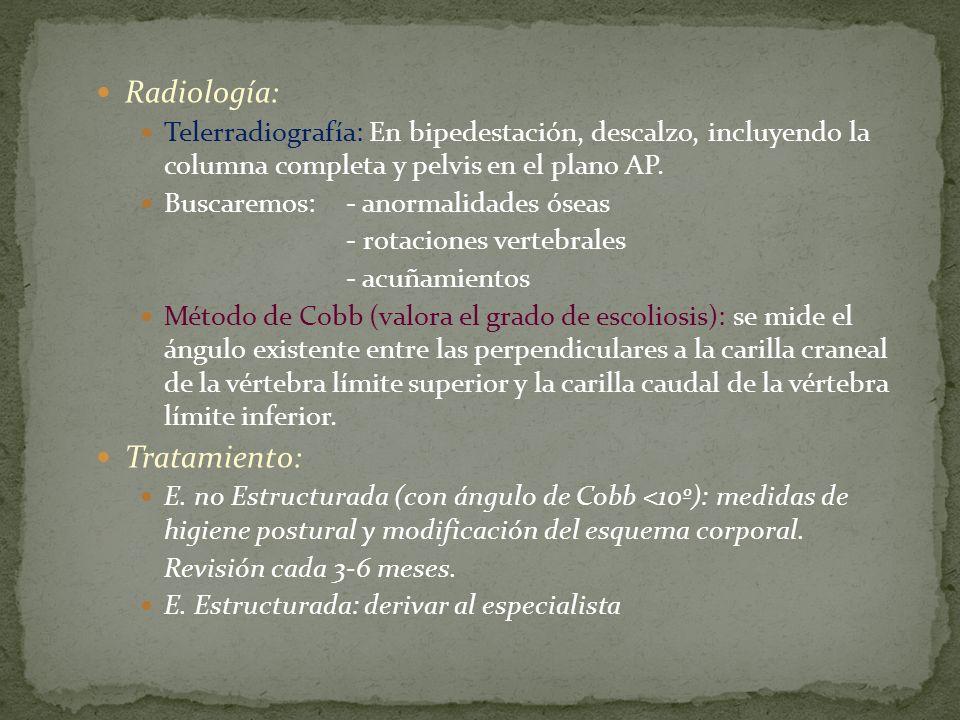 Radiología: Telerradiografía: En bipedestación, descalzo, incluyendo la columna completa y pelvis en el plano AP. Buscaremos:- anormalidades óseas - r
