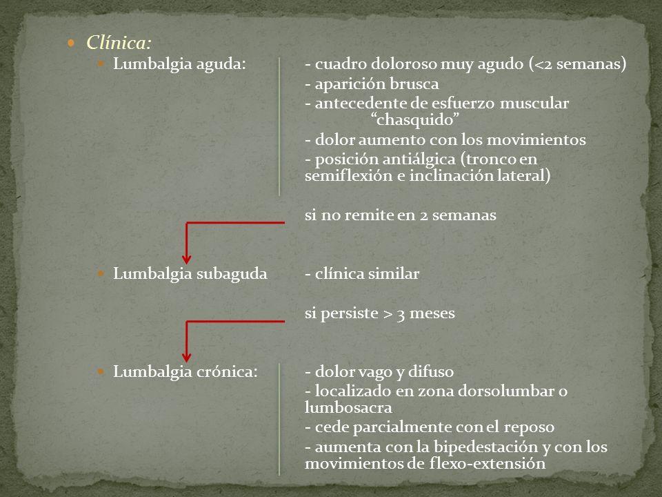 Clínica: Lumbalgia aguda:- cuadro doloroso muy agudo (<2 semanas) - aparición brusca - antecedente de esfuerzo muscular chasquido - dolor aumento con