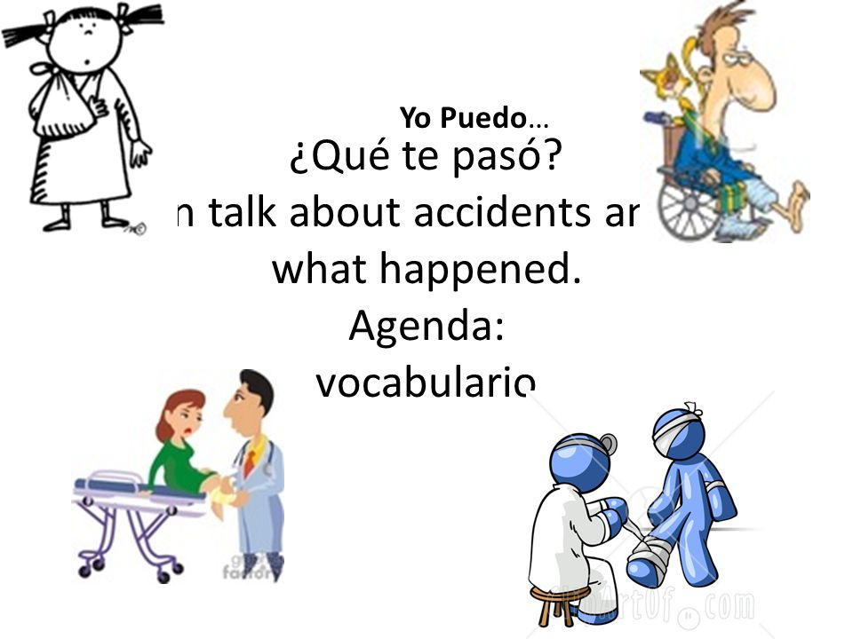 ¿Qué te pasó? I can talk about accidents and tell what happened. Agenda: vocabulario Yo Puedo…