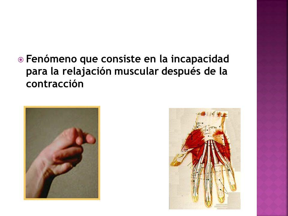 Fenómeno que consiste en la incapacidad para la relajación muscular después de la contracción