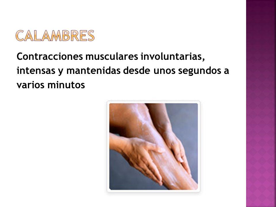 Contracciones musculares involuntarias, intensas y mantenidas desde unos segundos a varios minutos