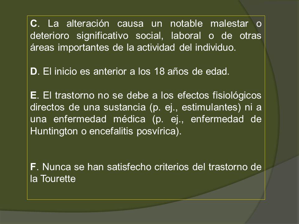 C. La alteración causa un notable malestar o deterioro significativo social, laboral o de otras áreas importantes de la actividad del individuo. D. El