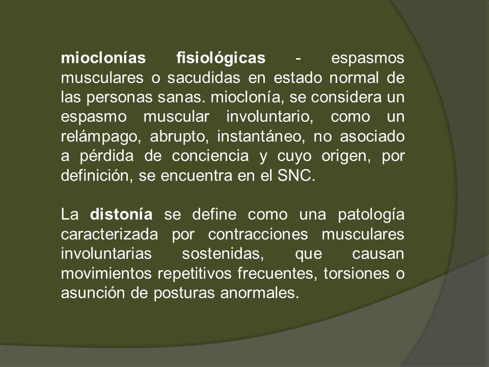 mioclonías fisiológicas - espasmos musculares o sacudidas en estado normal de las personas sanas. mioclonía, se considera un espasmo muscular involunt
