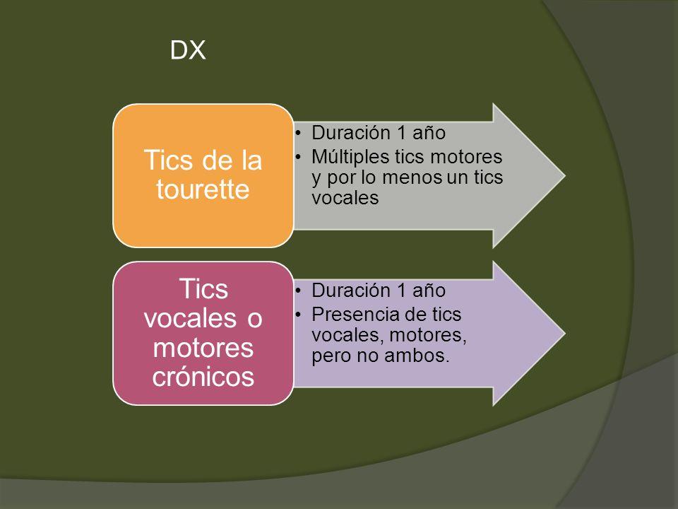 DX Duración 1 año Múltiples tics motores y por lo menos un tics vocales Tics de la tourette Duración 1 año Presencia de tics vocales, motores, pero no