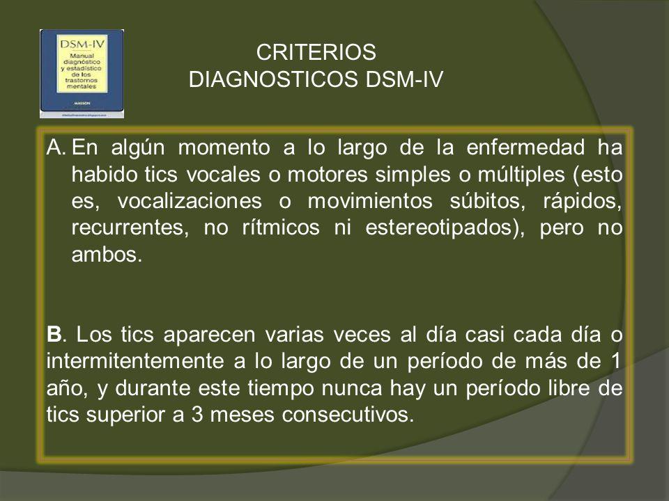 CRITERIOS DIAGNOSTICOS DSM-IV A.En algún momento a lo largo de la enfermedad ha habido tics vocales o motores simples o múltiples (esto es, vocalizaci