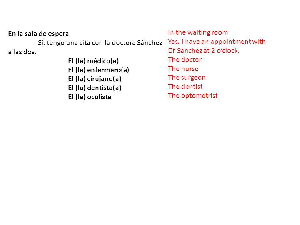 En la sala de espera Sí, tengo una cita con la doctora Sánchez a las dos.