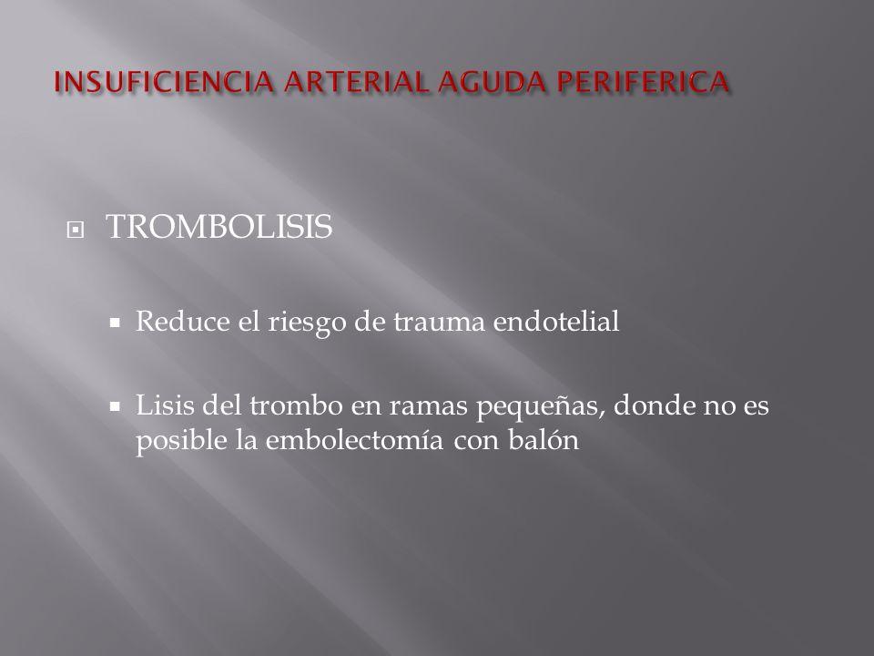 TROMBOLISIS Reduce el riesgo de trauma endotelial Lisis del trombo en ramas pequeñas, donde no es posible la embolectomía con balón