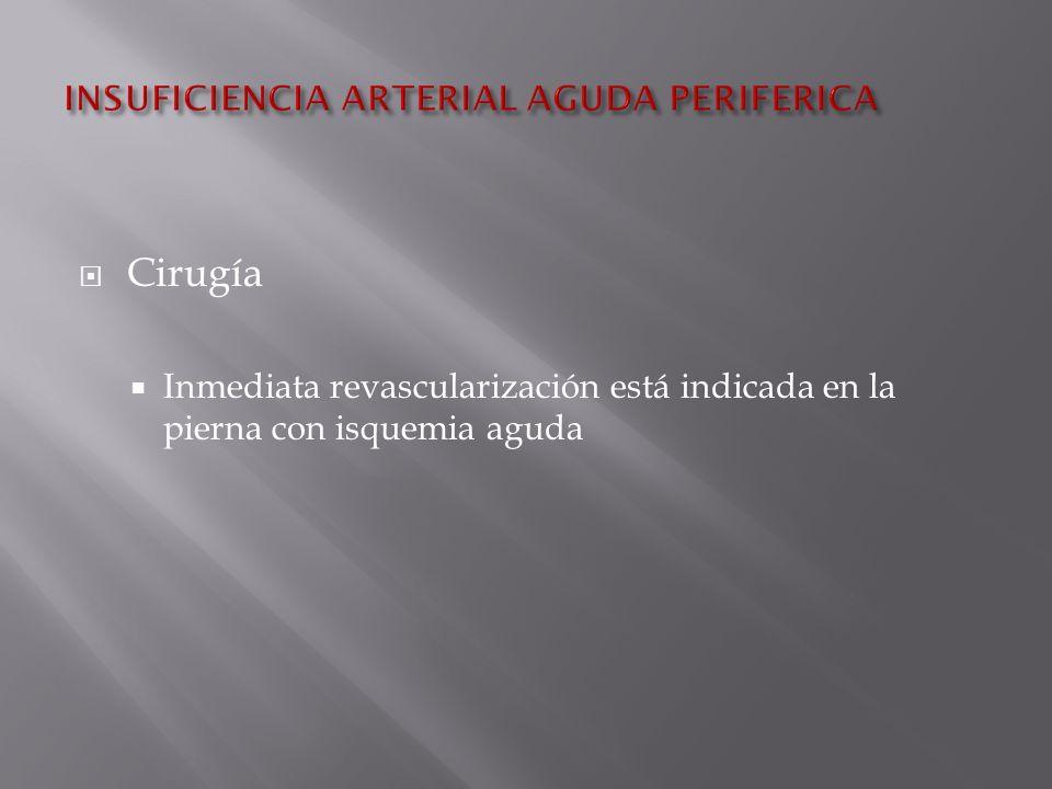Cirugía Inmediata revascularización está indicada en la pierna con isquemia aguda