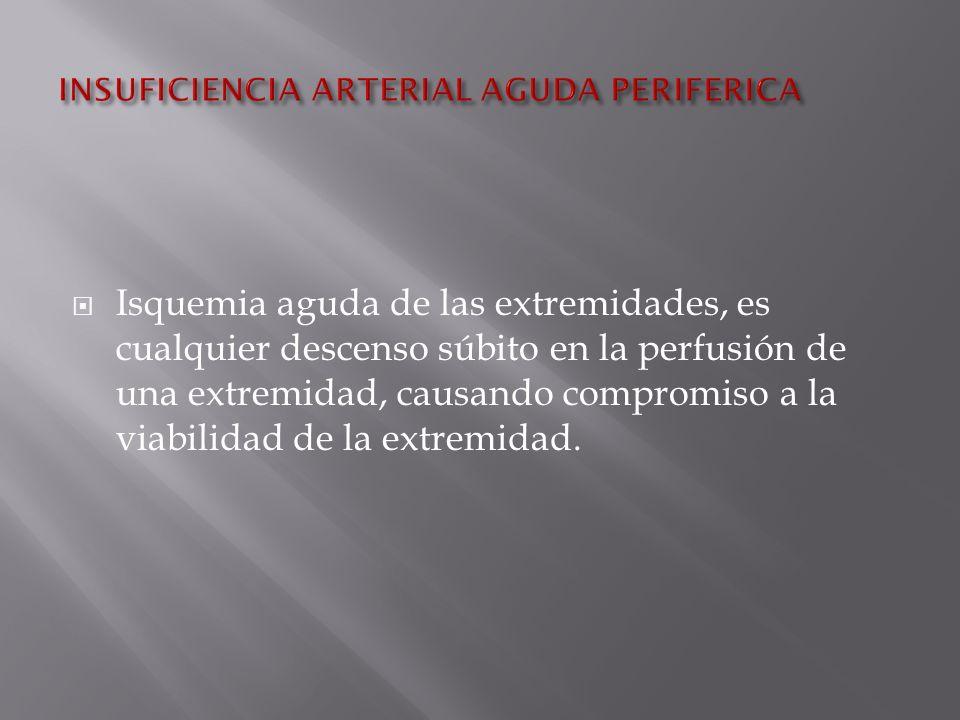 Isquemia aguda de las extremidades, es cualquier descenso súbito en la perfusión de una extremidad, causando compromiso a la viabilidad de la extremidad.