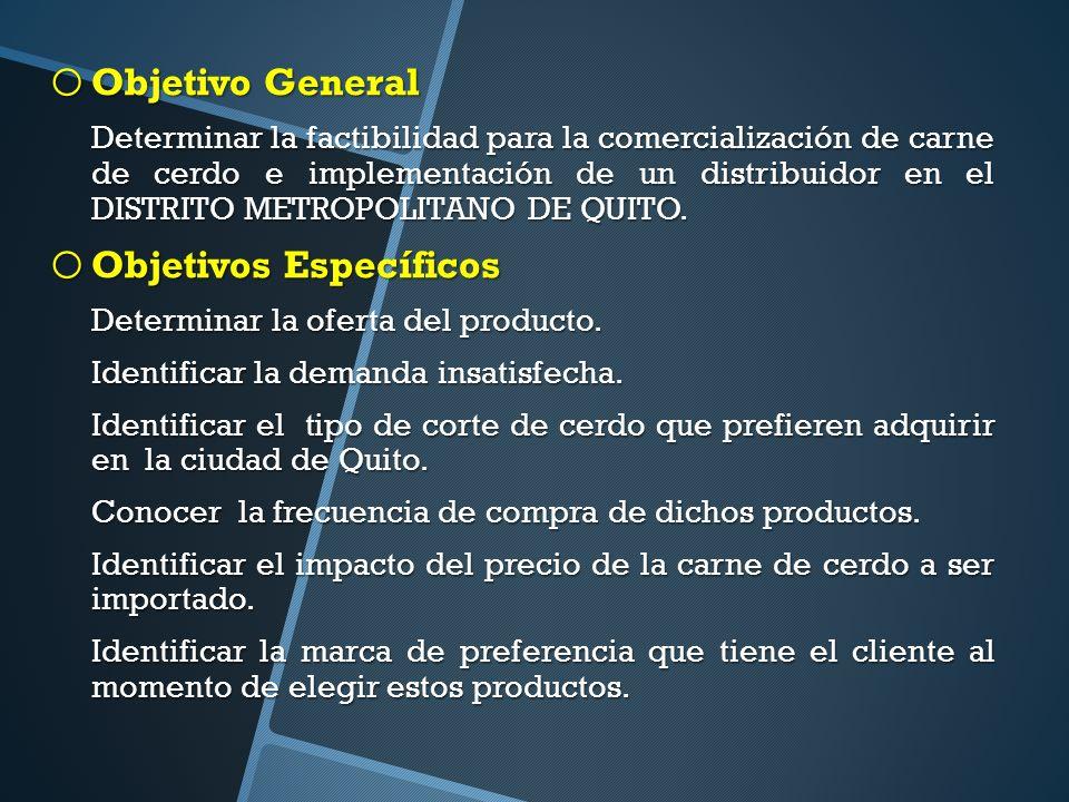 o Objetivo General Determinar la factibilidad para la comercialización de carne de cerdo e implementación de un distribuidor en el DISTRITO METROPOLITANO DE QUITO.