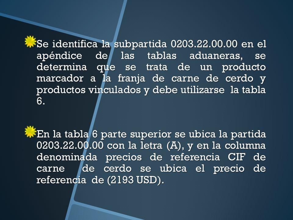 Se identifica la subpartida 0203.22.00.00 en el apéndice de las tablas aduaneras, se determina que se trata de un producto marcador a la franja de carne de cerdo y productos vinculados y debe utilizarse la tabla 6.