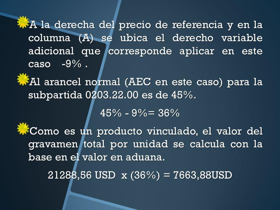 A la derecha del precio de referencia y en la columna (A) se ubica el derecho variable adicional que corresponde aplicar en este caso -9%.